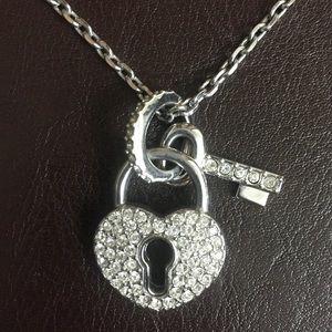 Heart and Lock Rhinestone Necklace